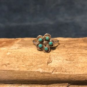 Zuni Turquoise & Sterling Silver Flower Ring